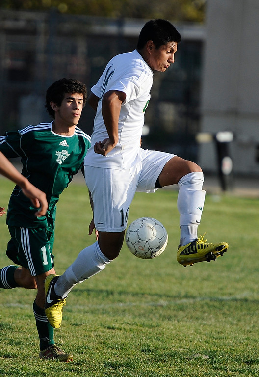 . March 4,2013. Canoga Park. Game action as Canoga Park takes the win 2-0 over Coronado during the first round of Southern California Div. II boys soccer regional playoffs.   Photo by Gene Blevins/LA DailyNews