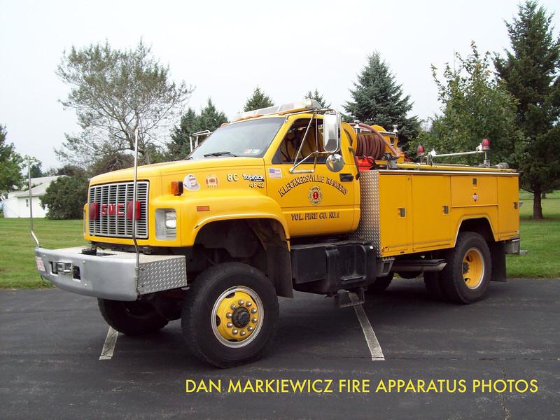 KLECKNERSVILLE RANGERS FIRE CO. BRUSH 4842 1990 GMC/WILSON BRUSH TRUCK