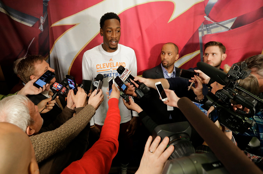 . Cleveland Cavaliers\' Larry Sanders talks with the media before an NBA basketball game between the Detroit Pistons and the Cleveland Cavaliers, Tuesday, March 14, 2017, in Cleveland. (AP Photo/Tony Dejak)