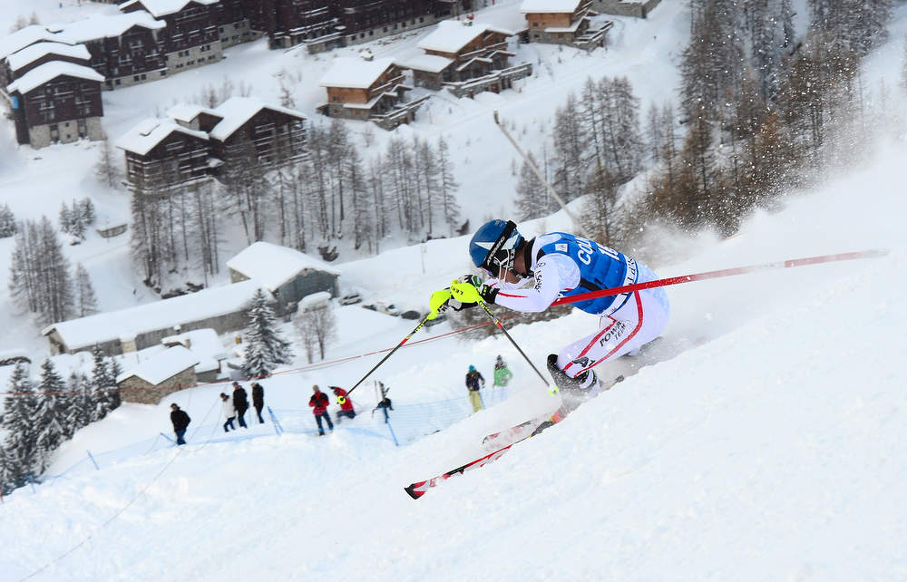 Description of . Benjamin Raich of Austria competes in the first run of the FIS Alpine World Cup Men's Slalom on December 8, 2012in Val d'Isere, French Alps. AFP PHOTO / FRANCK  FIFE/AFP/Getty Images