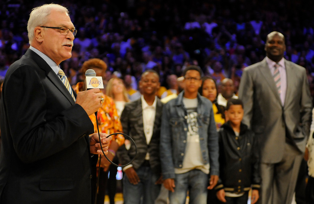 . Phil Jackson speaks about Shaq. On a night when the Lakers played the Dallas Mavericks, Shaquille O\'Neal had his jersey retired. Los Angeles, CA 4/2/2013(John McCoy/Staff Photographer