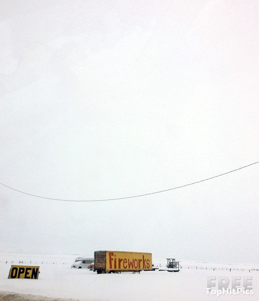 A Fireworks Sign in Wintery Idaho, USA
