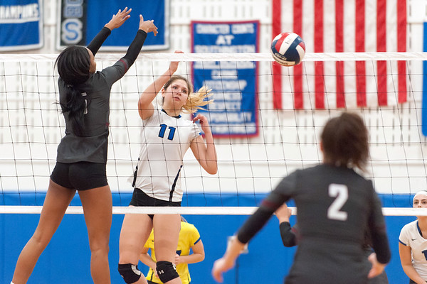 10/30/18 Wesley Bunnell   Staff Southington girls volleyball was defeated 15-10 in the 5th set by Farmington in a 2nd round CCC Tournament game on Tuesday night at Southington High School. Veronica Gorski (11).