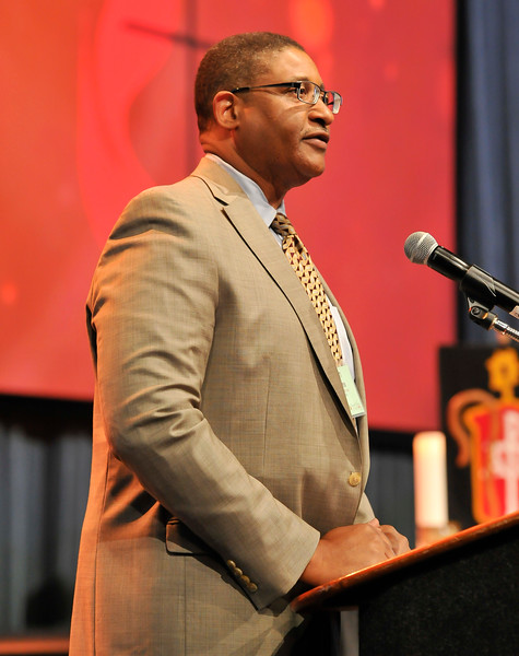Brian Williams speaks at the Friday Plenary at the 2017 INUMC Annual Conference in Indianapolis.