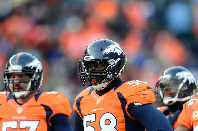 . Denver Broncos outside linebacker Von Miller (58) waits for a play in the second quarter. The Denver Broncos vs Baltimore Ravens AFC Divisional playoff game at Sports Authority Field Saturday January 12, 2013. (Photo by AAron  Ontiveroz,/The Denver Post)