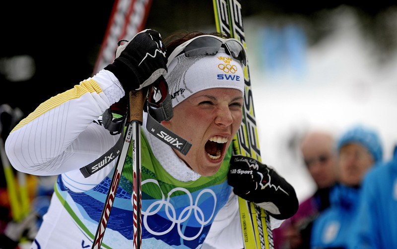 . Sweden\'s Charlotte Kalla reacts after the women\'s Cross-Country Skiing 10km free at Whistler Olympic Park on February 15, 2010 during the Vancouver Winter Olympics.  Kalla won gold in the Olympic Games women\'s 10km freestyle cross-country.  (FRANCK FIFE/AFP/Getty Images)