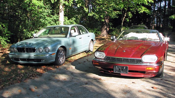 September 10, 2011:  The two Jags in the driveway .  .  .
