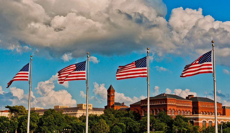 Flags and the Smithsonian Castle, Washington, DC