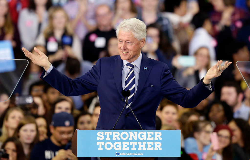 . Former President Bill Clinton speaks during a campaign rally for Democratic presidential candidate Hillary Clinton in Raleigh, N.C., Tuesday, Nov. 8, 2016. (AP Photo/Gerry Broome)