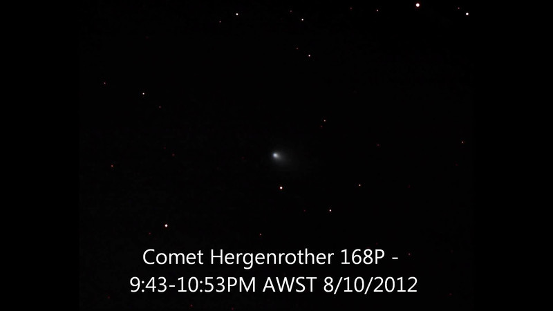 Comet/Hergenrother 168P - 8/10/2012 (Processed stack into a video sequence)