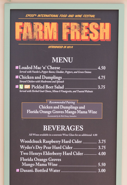 Farm Fresh Menu - Epcot Food & Wine Festival 2016