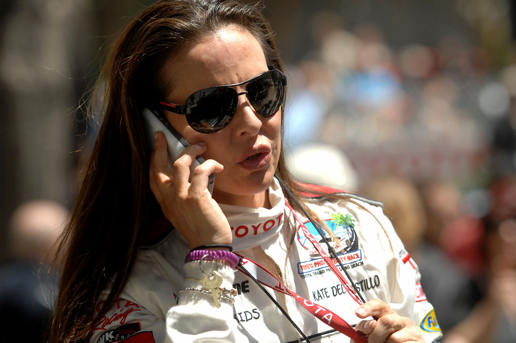 . 4/19/13 - Kate del Castillo after the Friday morning practice of the Toyota Pro/Celebrity race at the 39th Annual Toyota Grand Prix of Long Beach. Photo by Brittany Murray / Staff Photographer