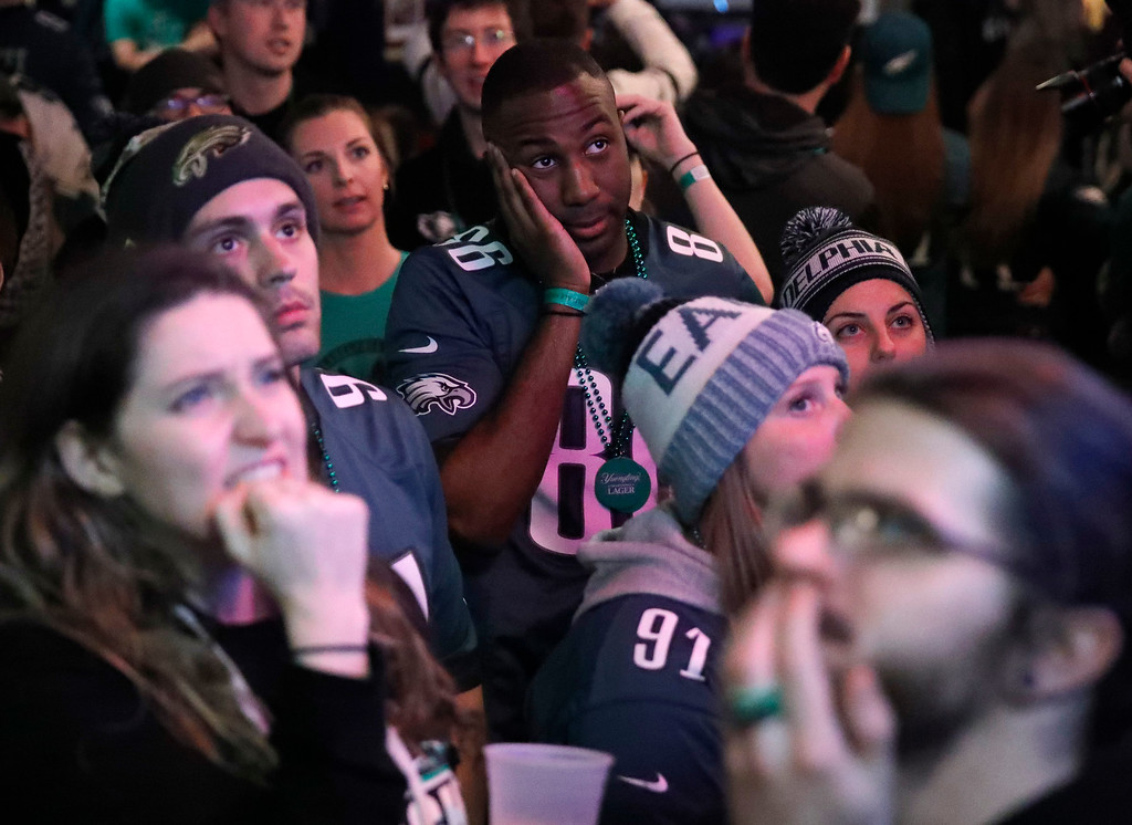 . Philadelphia Eagles fans react during the second half of NFL Super Bowl 52 between the Philadelphia Eagles and the New England Patriots, Sunday, Feb. 4, 2018, in Philadelphia. (AP Photo/Matt Rourke)