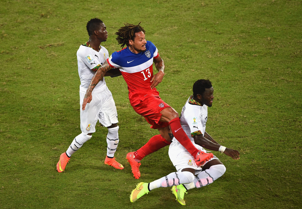 Description of . NATAL, BRAZIL - JUNE 16:  Jermaine Jones of the United States challenges Daniel Opare of Ghana during the 2014 FIFA World Cup Brazil Group G match between Ghana and the United States at Estadio das Dunas on June 16, 2014 in Natal, Brazil.  (Photo by Laurence Griffiths/Getty Images)