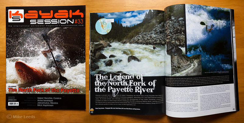 Kayak Session Magazine Issue #33 Spring 2010  (photo left) Brian Ward in Jacob's Ladder on the North Fork Payette RIver in Idaho. (photo small middle) Brian Ward and Wes Cook in Juicer Rapid on the North Fork Payette