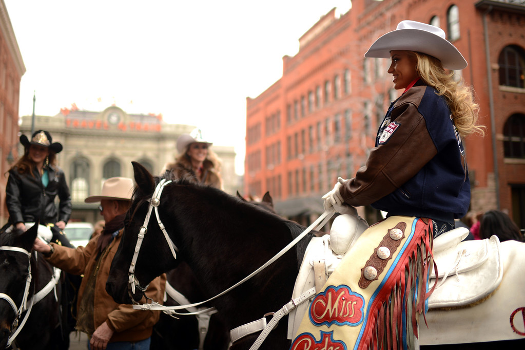 . Chenae Shiner of Miss Rodeo America is in 107th National Western Stock Show Kick-Off Parade at Downtown Denver on Thursday, Denver, CO, January 10, 2013.  Hyoung Chang, The Denver Post
