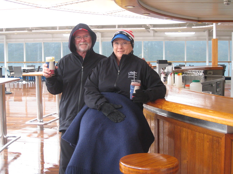 Call us crazy!  It's freezing, but we are still at the pool bar!