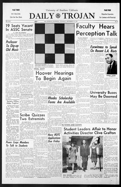 Daily Trojan, Vol. 57, No. 9, September 30, 1965