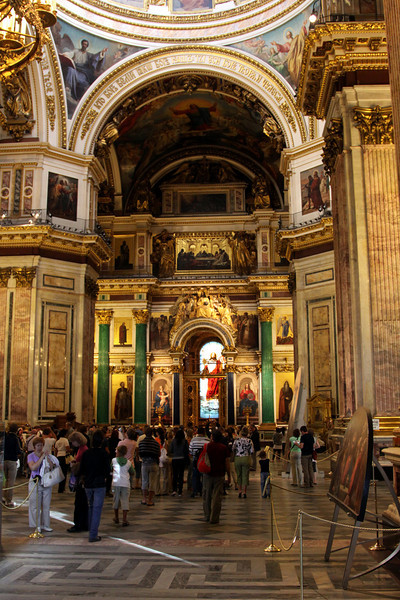 The lavish interior of St Isaac's Cathederal.