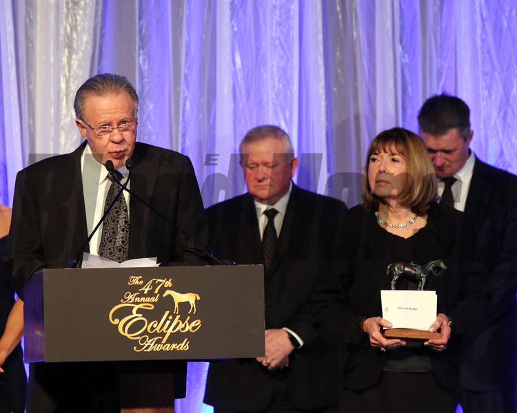 Gary and Mary West accept the 2017 Eclipse Award for 3Y O Male, West Coast with trainer Bob Baffert 2018 , Gulfstream Park