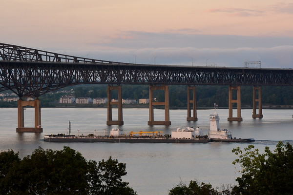 Yesterdy 8/7/18 t 16:25 hd hrs I spy, from my perch, Kirby's Skipjack heading north at Newburgh landing. New to my gallery. Capt said been around since March.b  The tug's capacities are 104,994 gallons of fuel, 660 gallons of lube oil, 660 gallons of hydraulic oil, 7,370 gallons of water, and 32,651 gallons of ballast.