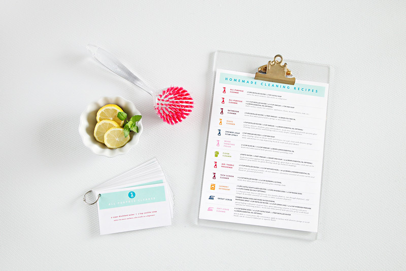 Printable Cleaning Recipe Cards & Chart