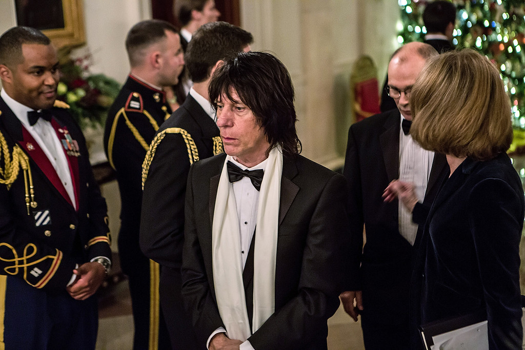 . WASHINGTON - DECEMBER 2: (AFP OUT) Musician Jeff Beck arrives at the Kennedy Center Honors reception at the White House on December 2, 2012 in Washington, DC. The Kennedy Center Honors recognized seven individuals - Buddy Guy, Dustin Hoffman, David Letterman, Natalia Makarova, John Paul Jones, Jimmy Page, and Robert Plant - for their lifetime contributions to American culture through the performing arts. (Photo by Brendan Hoffman/Getty Images)