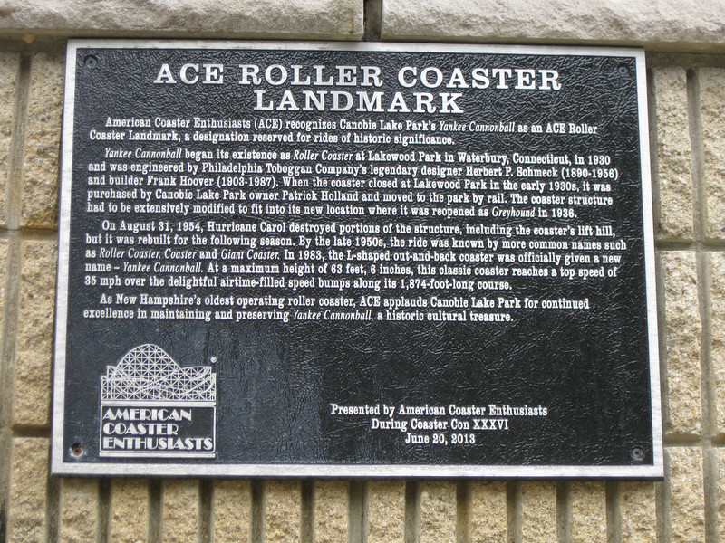 ACE Roller Coaster Landmark plaque for Yankee Cannonball.