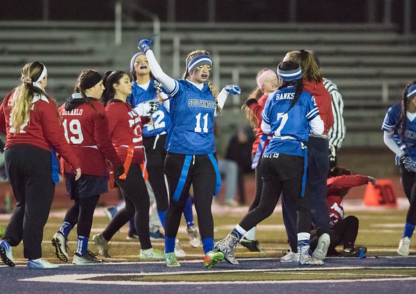 11/19/18 Wesley Bunnell | Staff Southington powder puff football vs Rocky Hill on Monday night at Southington High School. Izabella Pokorski (11) after a stop.