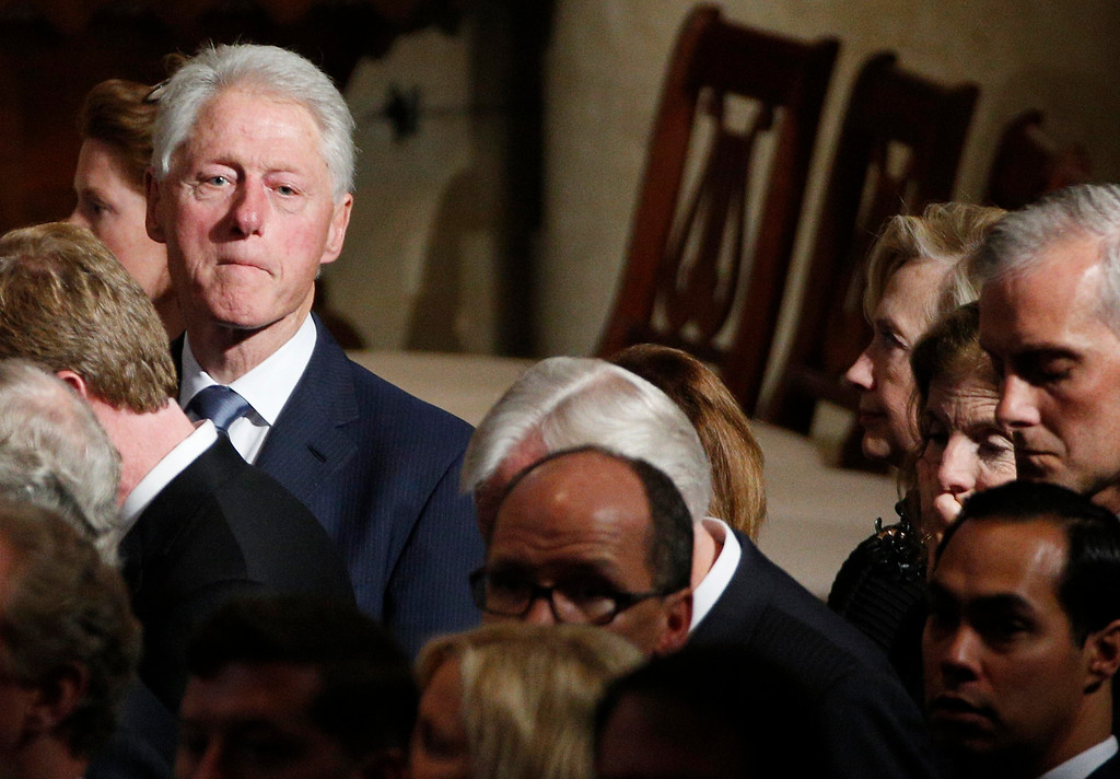 . Former President Bill Clinton attends funeral services for Vice President Joe Biden\'s son, Beau, Saturday, June 6, 2015, at St. Anthony of Padua Church in Wilmington, Del. (Kevin Lamarque/Pool Photo via AP)