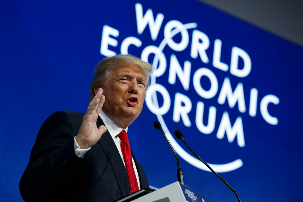 . President Donald Trump delivers a speech to the World Economic Forum, Friday, Jan. 26, 2018, in Davos. (AP Photo/Evan Vucci)