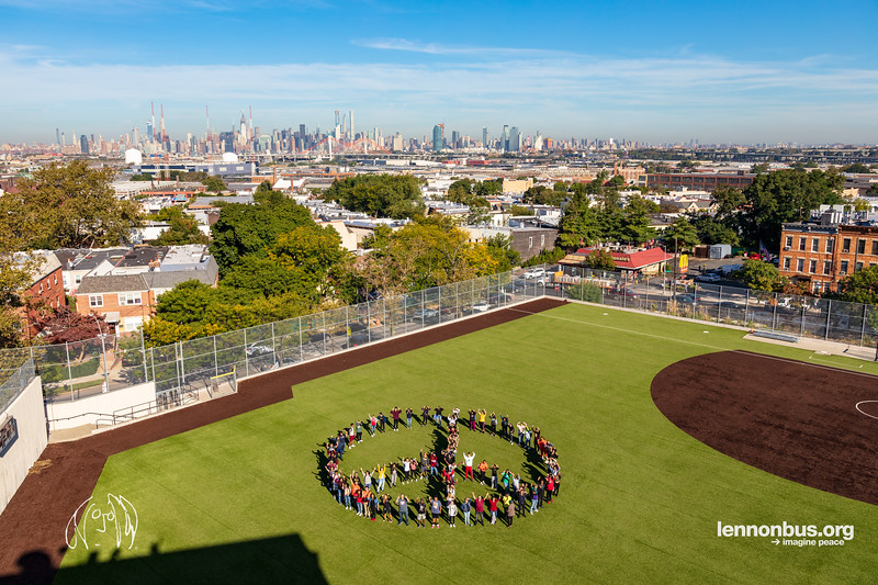 2019_09_20, Grover Cleveland High School, NY, Ridgewood, Peace Sign, Human Peace Sign, Gabe Smith, Joshua Greene