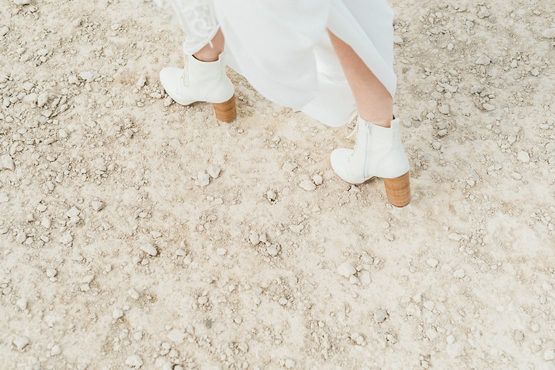 white lace-up boots with a brown heel for a Las Vegas desert elopement // Las Vegas Elopement  & Intimate Wedding Photographer - Kristen Krehbiel - Kristen Kay Photography