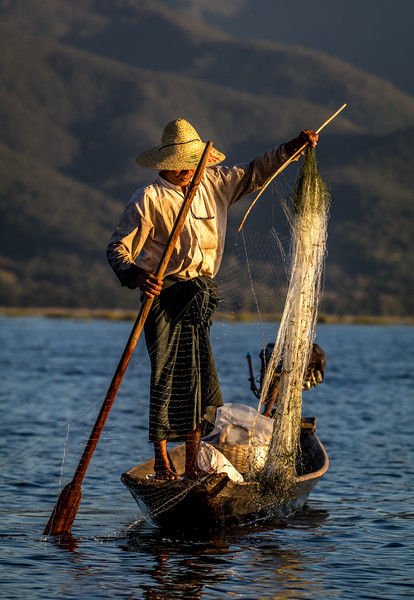 Traditional fisherman on Inle Lake