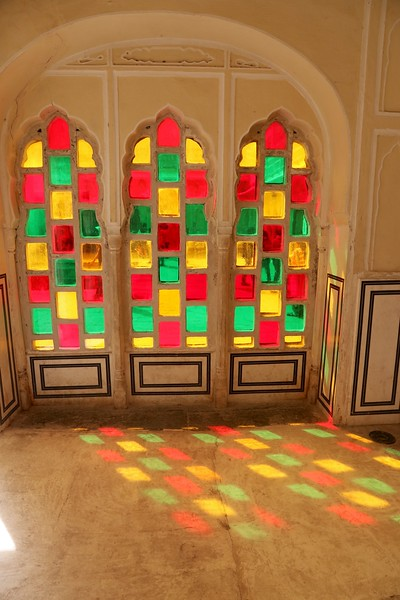 When the sun light enters the entire chamber fills with the spectrum of various colors - Hawa Mahal, Jaipur