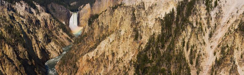 Yellowstone river canyon and rainbow, Yellowstone National Park