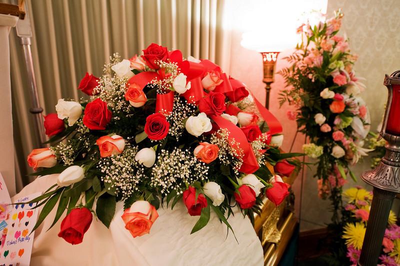 Top of the casket arrangement.