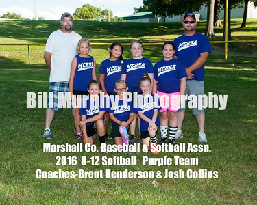 2016 8-12 Softball Purple Team, June 14, 2016