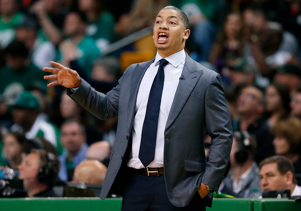 . Cleveland Cavaliers head coach Tyronn Lue gives instructions from the sideline during the first half in Game 7 of the NBA basketball Eastern Conference finals against the Boston Celtics, Sunday, May 27, 2018, in Boston. (AP Photo/Elise Amendola)
