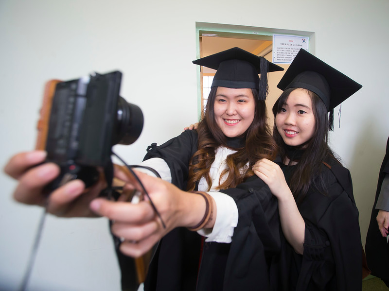 WIT (Waterford Institute of Technology) conferring ceremony at WIT College Street Campus, Waterford. Pictured are Yu Tian Koh and Simone Wan Qi WIT School of Business graduates from WIT's partner college in Kuala Lumpur in Malaysia, Tunku Abdul Rahman University College (TAR) . Picture: Patrick Browne