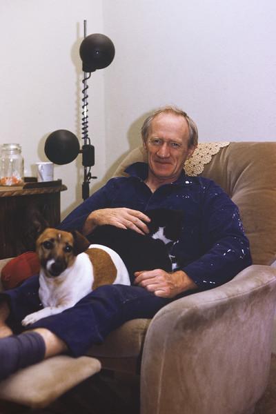 Colin Holmes with Toby (dog) and Scruff (cat).