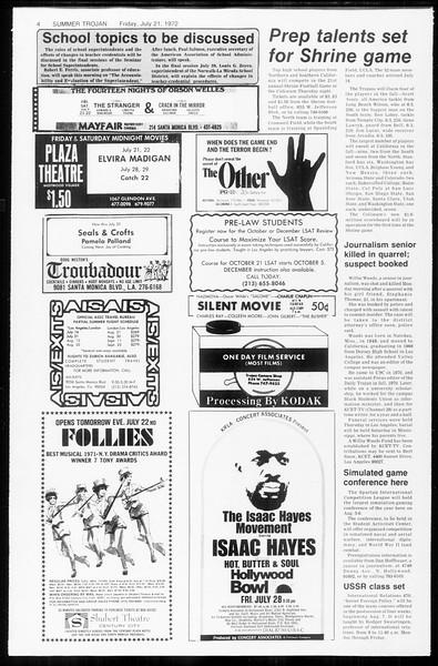 Summer Trojan, Vol. 65, No. 12, July 21, 1972