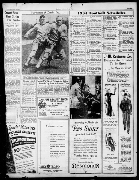 Daily Trojan, Vol. 26, No. 1, September 19, 1934