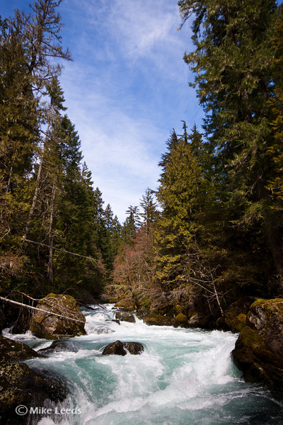 "Coming down into the top of ""Boulder Sluice"" on the Little White Salmon River, Washington."