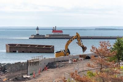 2020 08 10: Canal Park, Rocks, Construction, Duluth MN