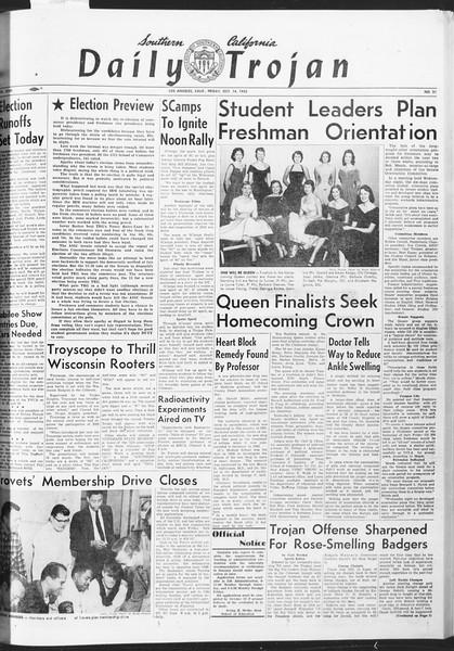Daily Trojan, Vol. 47, No. 21, October 14, 1955