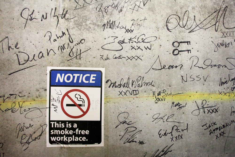 Description of . In this Jan. 15, 2013 photo, autographs cover a wall on a top floor of One World Trade Center in New York. Construction workers finishing New York's tallest building at the World Trade Center are leaving their personal marks on the concrete and steel in the form of graffiti. (AP Photo/Mark Lennihan)