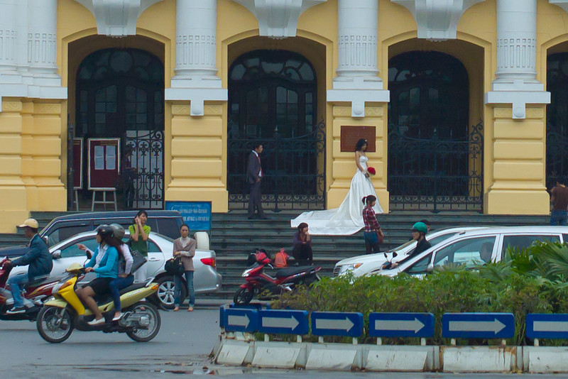 Bride-to-be on the steps of the French Opera House, Hanoi, Vietnam.
