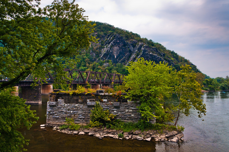 View of Train Bridge, Maryland Heights and Potomac River, Harpers Ferry, WVA
