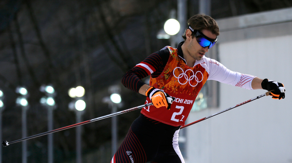 . Austria\'s Lukas Klapfer competes during the cross-country portion of the Nordic combined Gundersen large hill team competition at the 2014 Winter Olympics, Thursday, Feb. 20, 2014, in Krasnaya Polyana, Russia. (AP Photo/Gregorio Borgia)